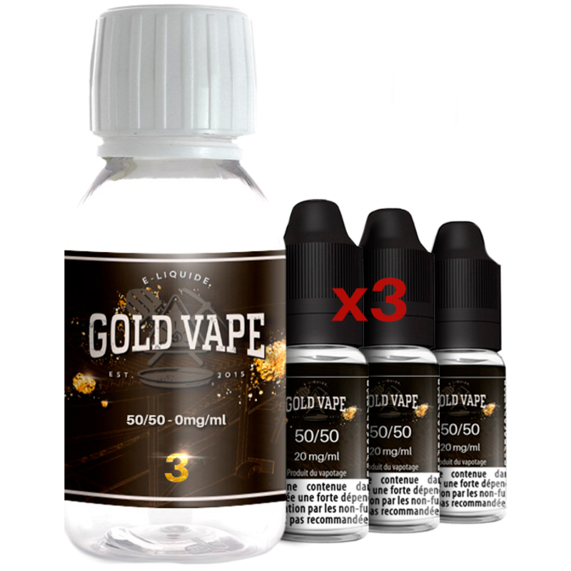 Pack Base Booster 200 ml 50/50 3 mg - Gold Vape